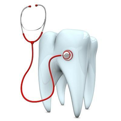 Illustration of tooth wearing a stethoscope | emergency dentistry mount waverley vic